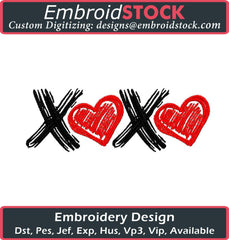 XOXO Embroidery Design - Embroidstock