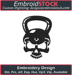 Dumbbell Skull Embroidery Design - Embroidstock