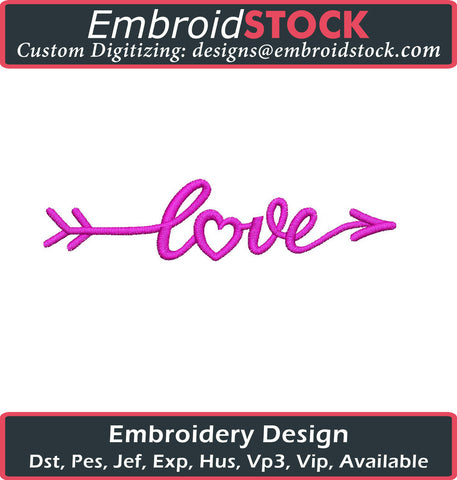 Love and Arrow Valentines Design - Embroidstock