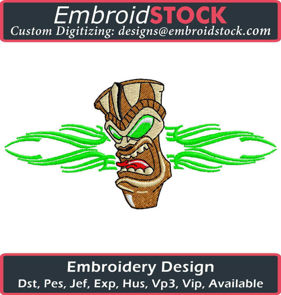 Tiki Embroidery Design - Embroidstock