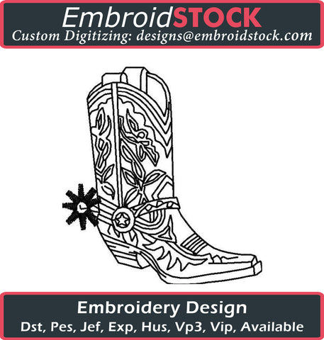 Cowboy Boot Embroidery Design - Embroidstock