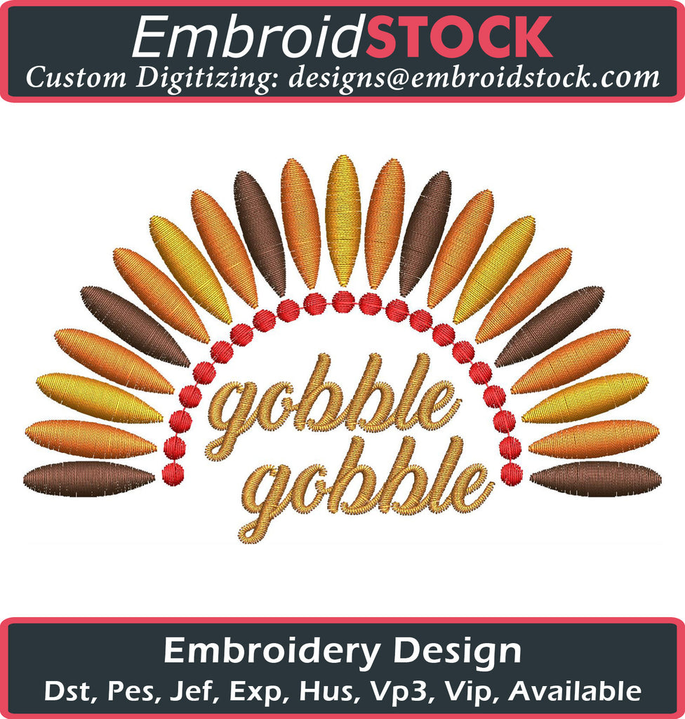 Gobble Gobble Embroidery Design - Embroidstock