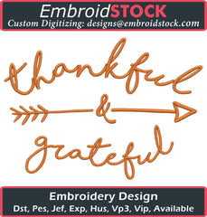 Thankful and Grateful Embroidery Design