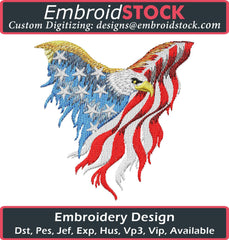 Eagle Flag Embroidery Design - Embroidstock