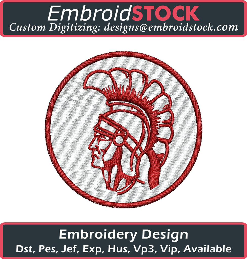 Trojan Head and Trojan 1 Color Embroidery Design - Embroidstock