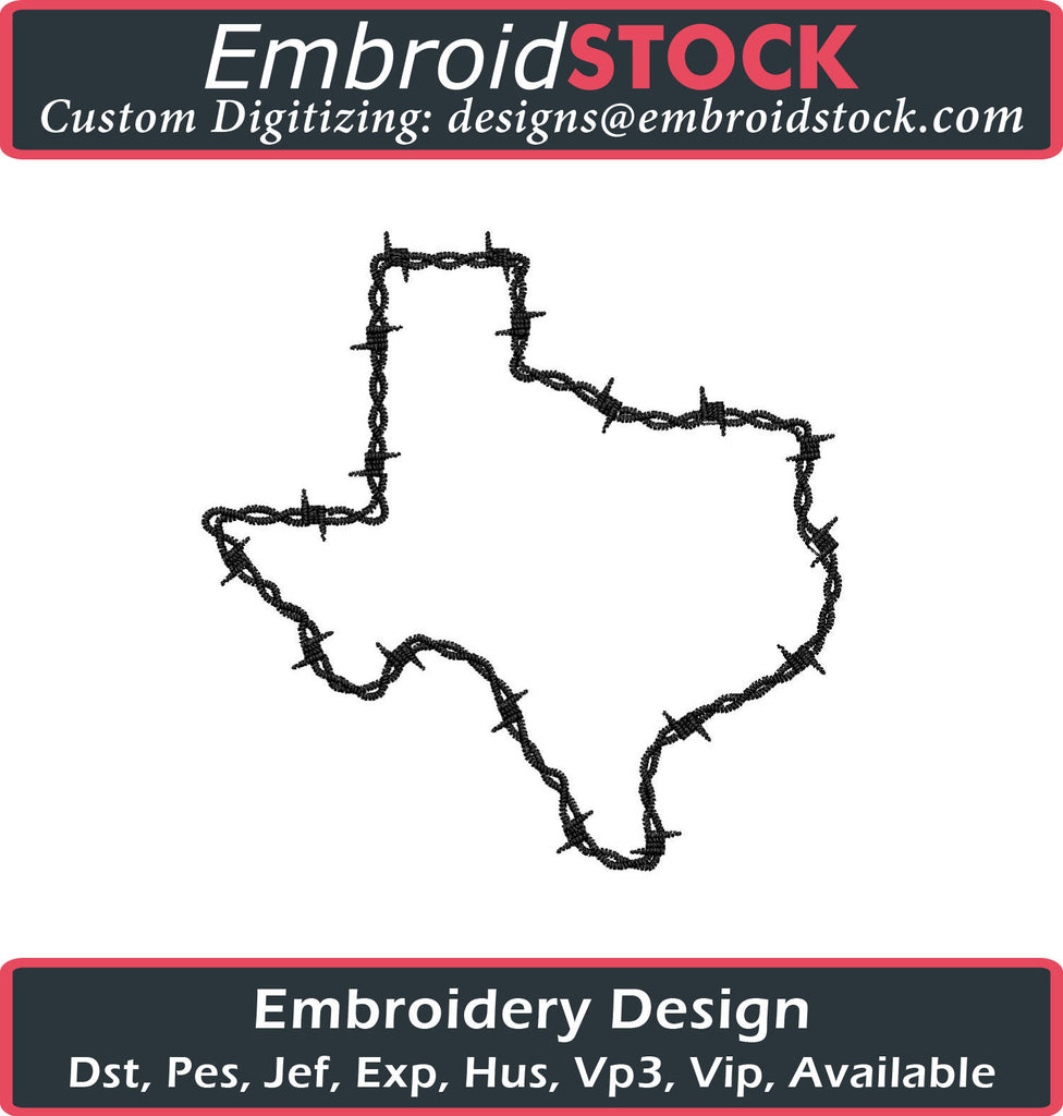 Texas Barber Wire Embroidery Design - Embroidstock