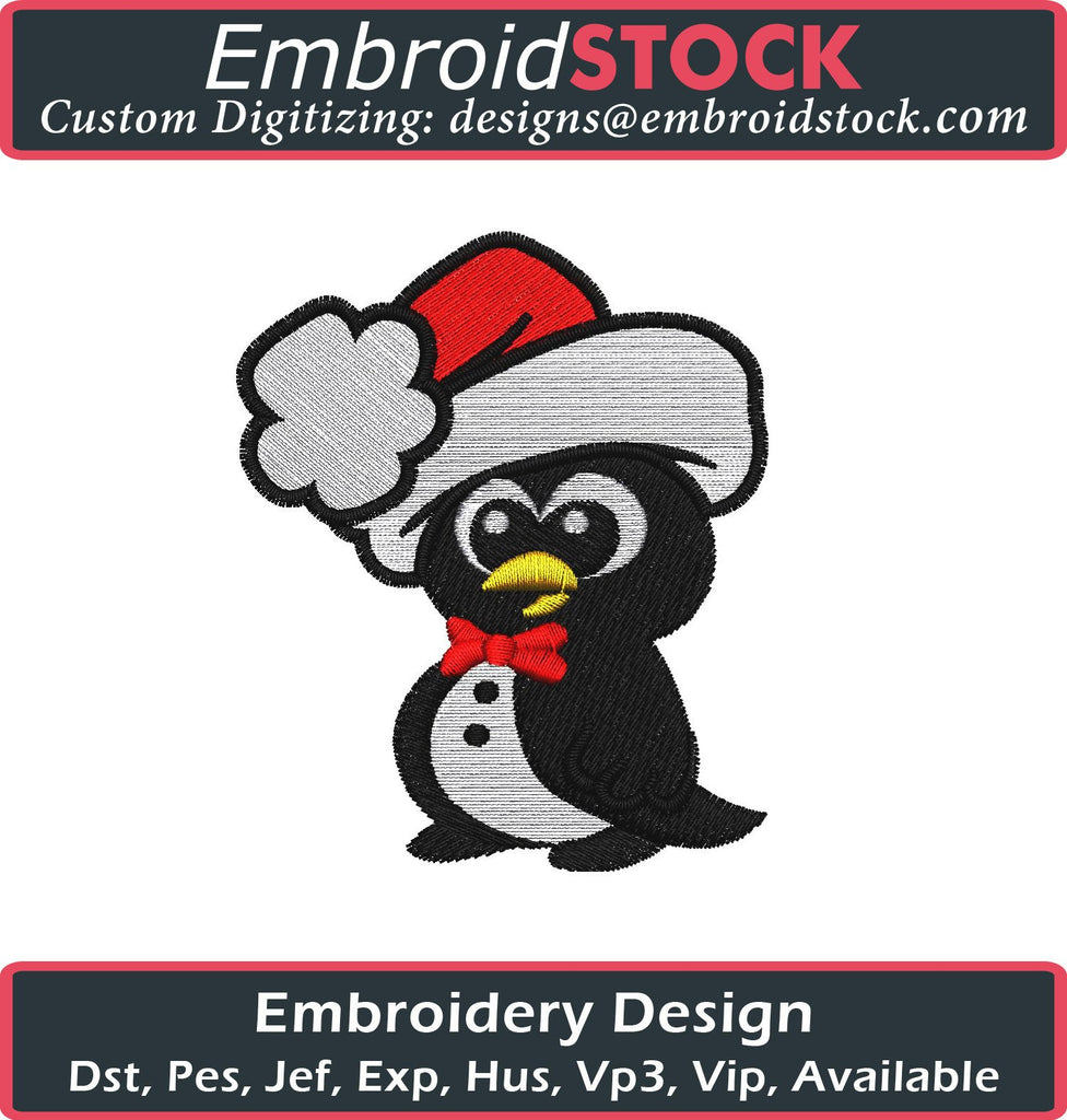Christmas Little Penguin Embroidery Design - Embroidstock