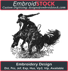 Cowboy Riding Horse Embroidery Design - Embroidstock