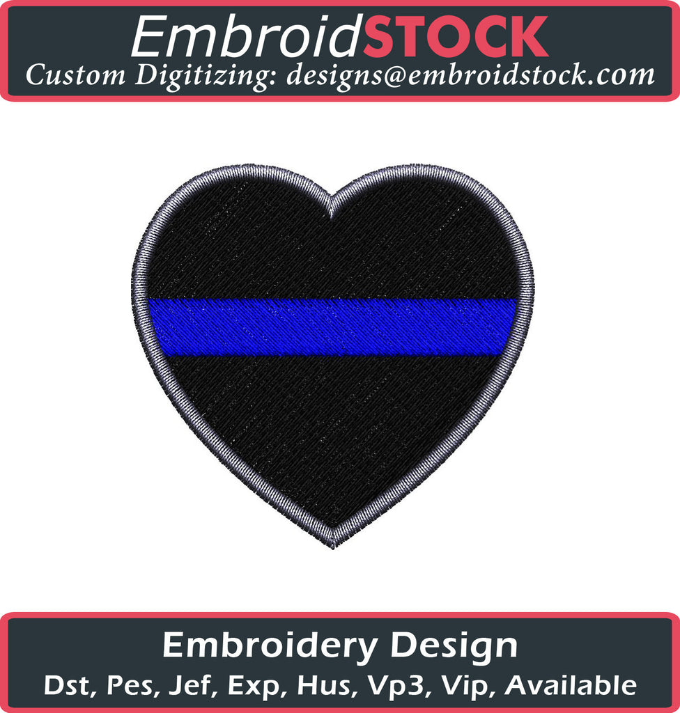 Blue Line Heart Embroidery Design - Embroidstock