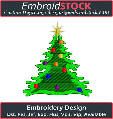 Christmas Tree Embroidery Design - Embroidstock