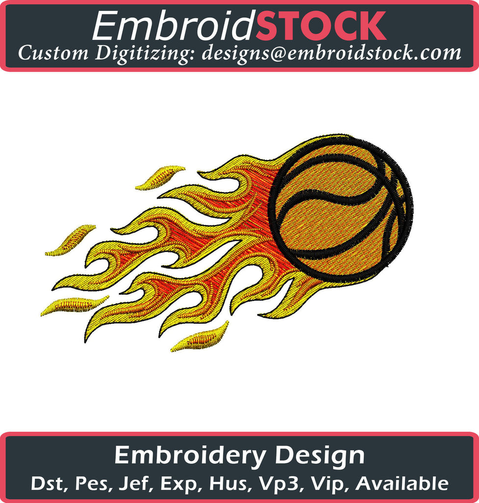 Basketball on Fire Embroidery Design - Embroidstock