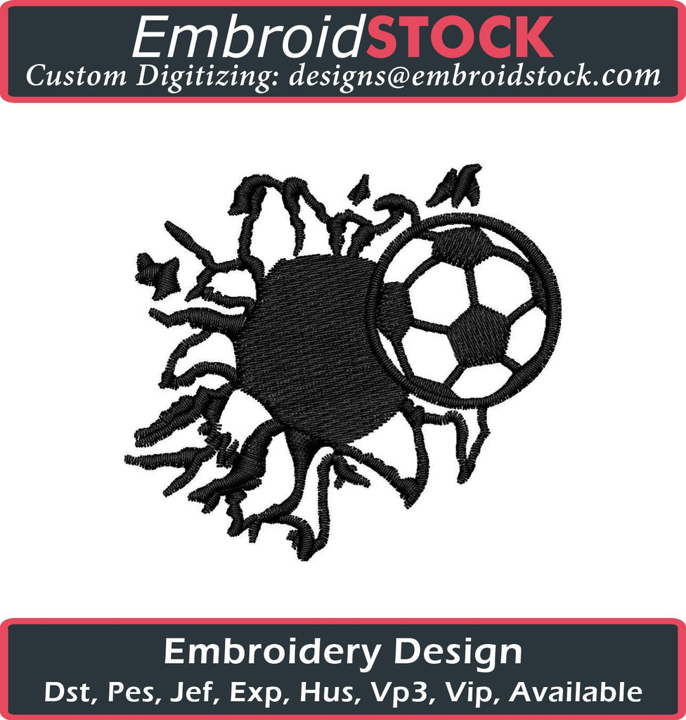 Bursting Soccer Ball Embroidery Design - Embroidstock