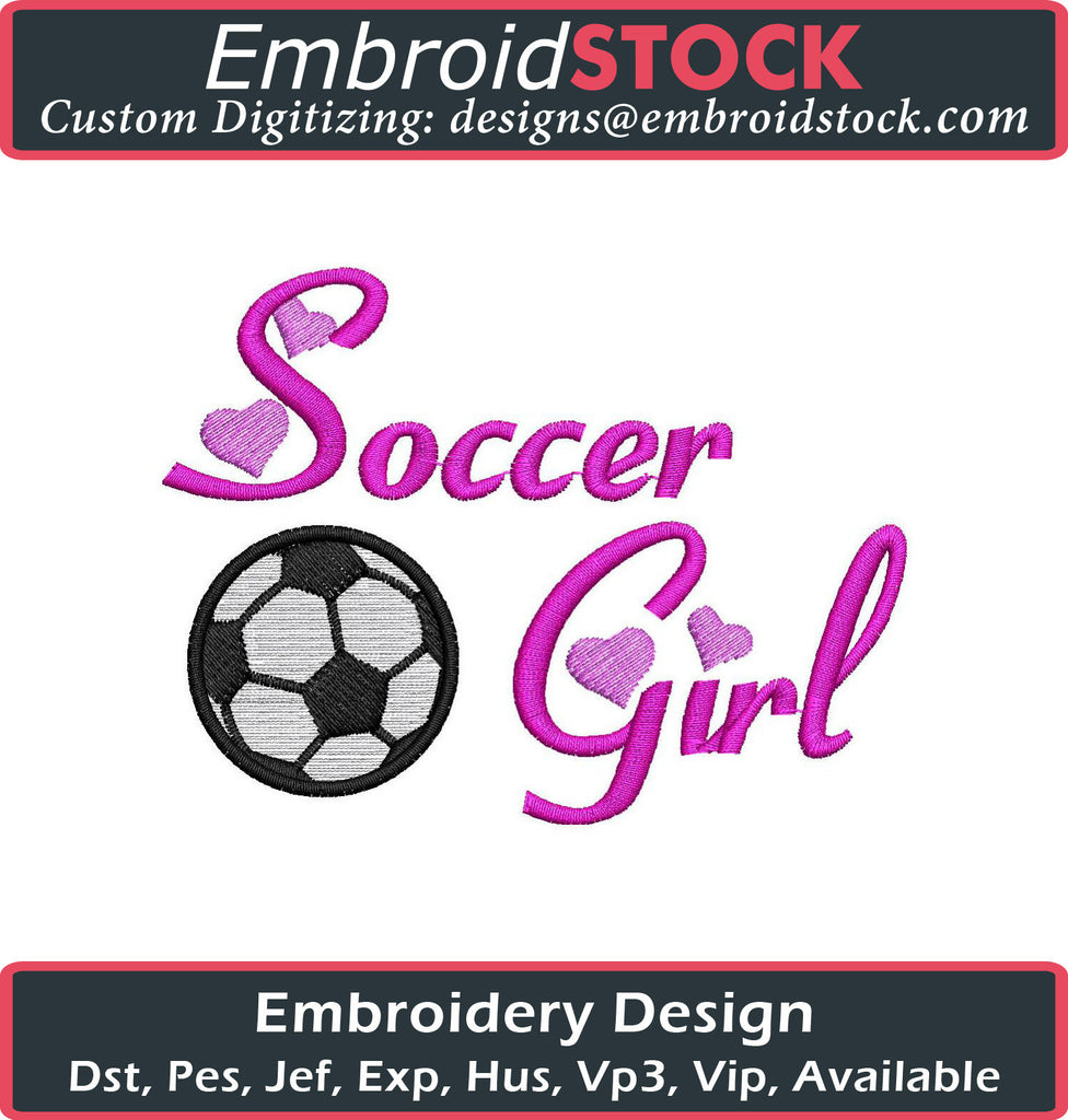 Soccer Girl Embroidery Design - Embroidstock
