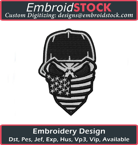 American Flag Skull Embroidery Design - Embroidstock