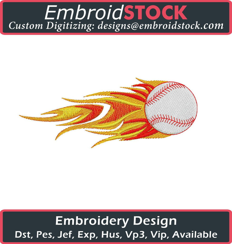 Fire Baseball Embroidery Design - Embroidstock