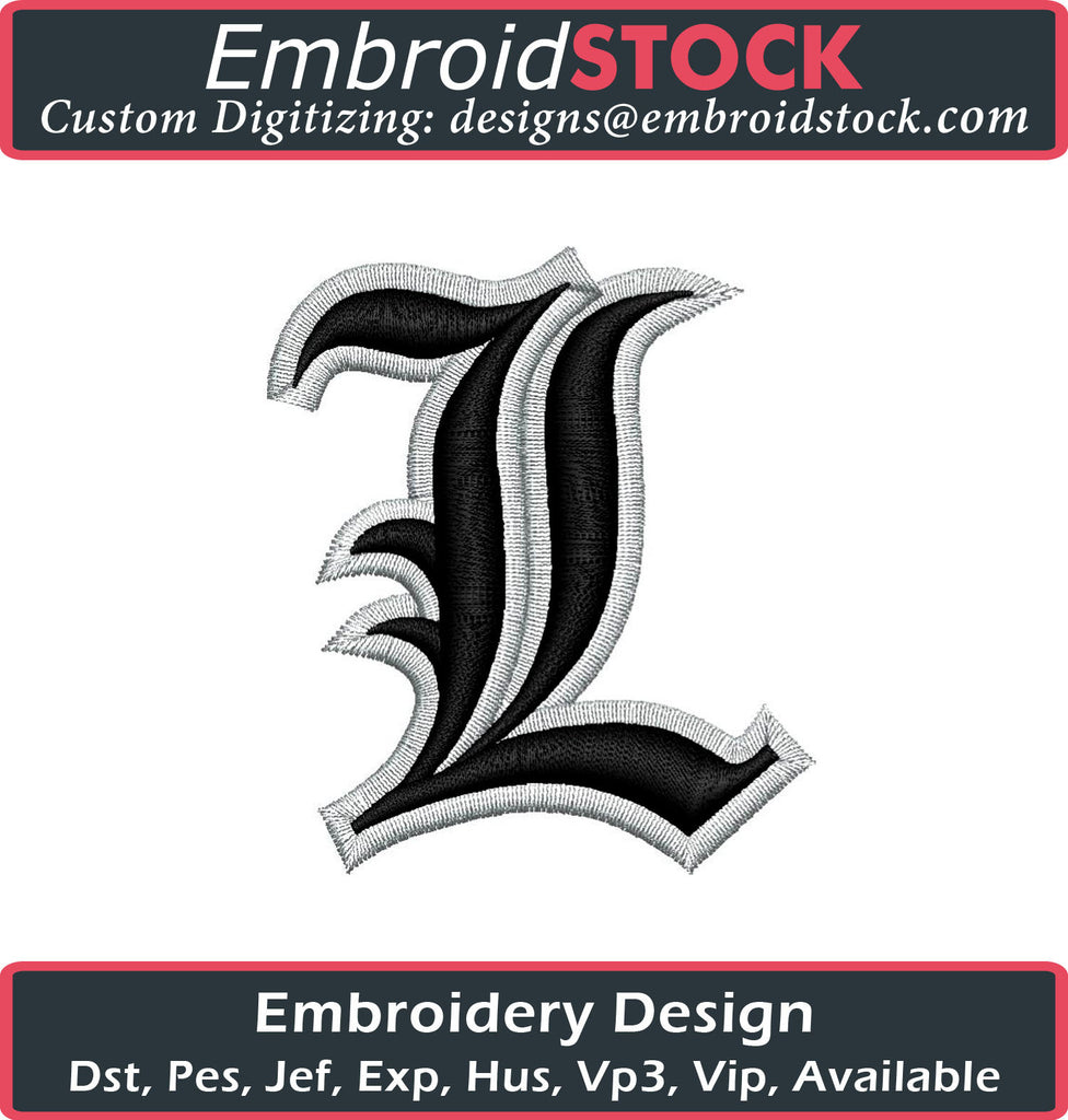Old English Letter L Puff Embroidery Design - Embroidstock