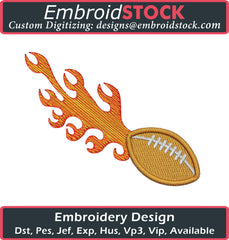 Football With Flames Embroidery - Embroidstock