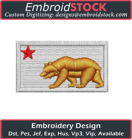 Cali Bear Flag Embroidery Design - Embroidstock