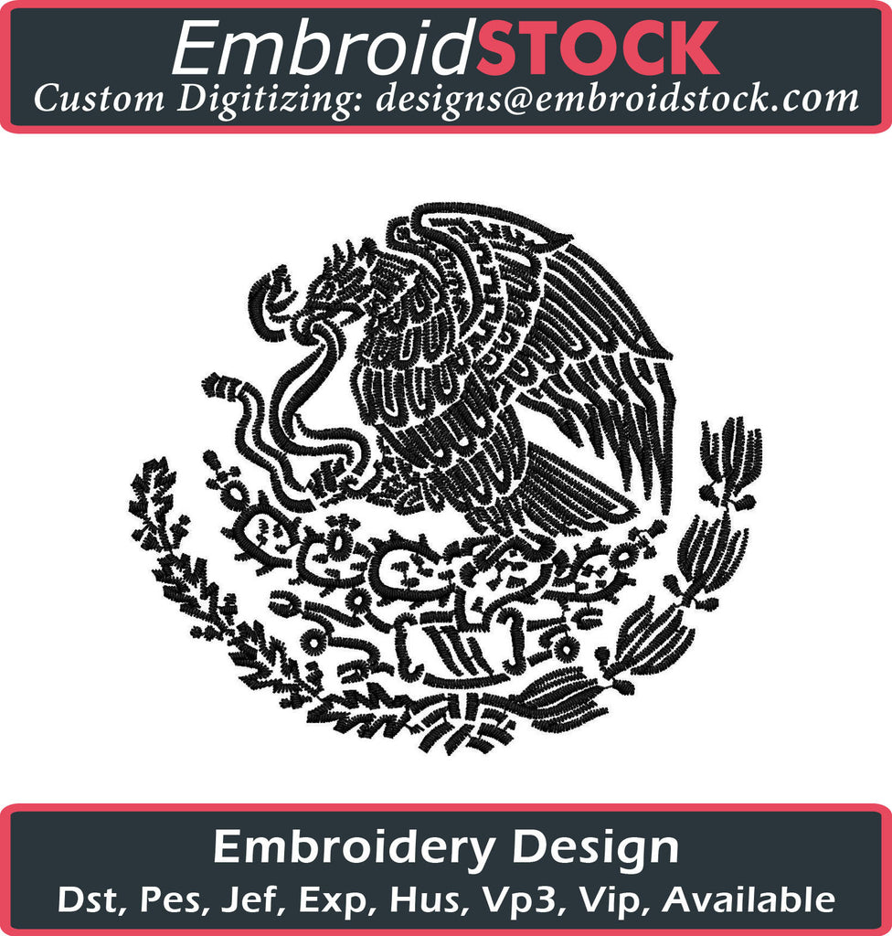 Mexican Eagle Embroidery Design - Embroidstock