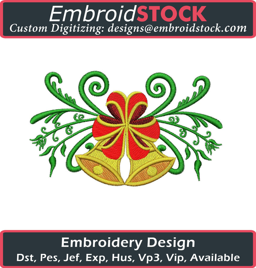 Christmas Bells Embroidery Design - Embroidstock