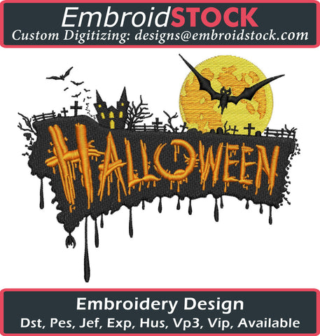 Haunted House Embroidery Design - Embroidstock