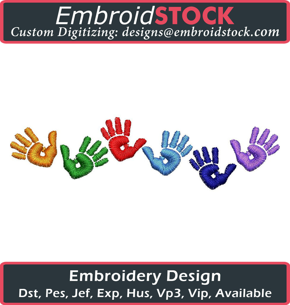 Kid Hand Print Embroidery Design - Embroidstock