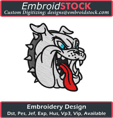 Bulldog Head Embroidery Design - Embroidstock