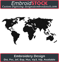 World Map Clipart Embroidery Design - Embroidstock