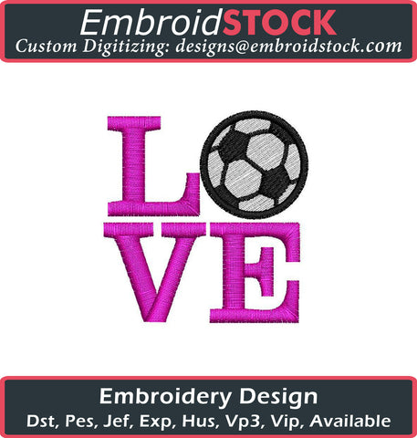 Love Soccer Applique Embroidery Design - Embroidstock