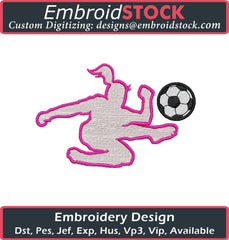 Girl kicking Soccer Ball Embroidery Design - Embroidstock