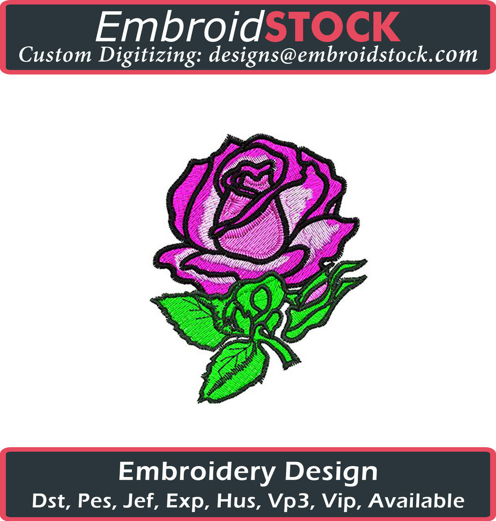Pink Rose Embroidery Design - Embroidstock