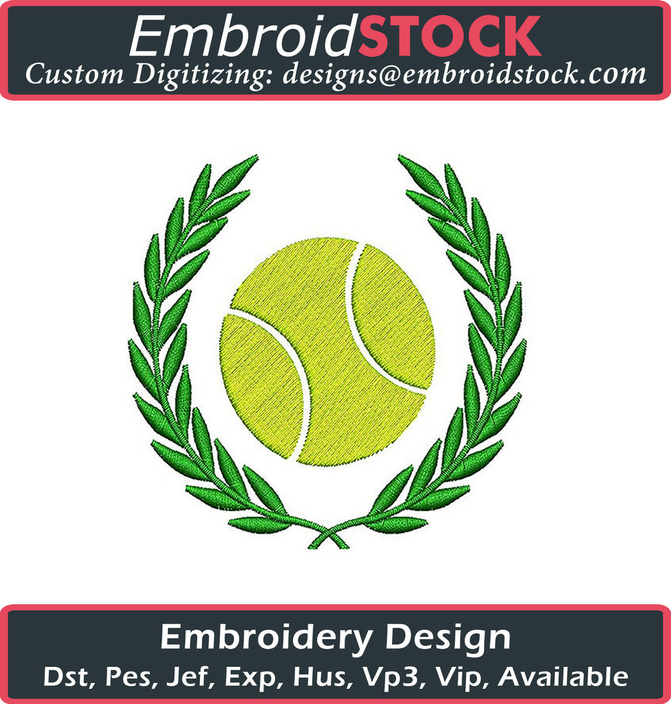 Tennis Ball with Laurel Leaves - Embroidstock