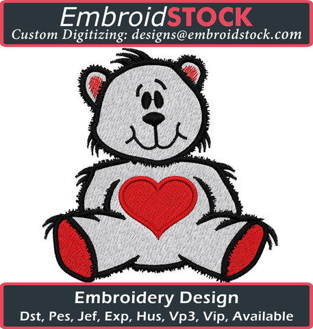 Valentines Teddy Bear - Embroidstock