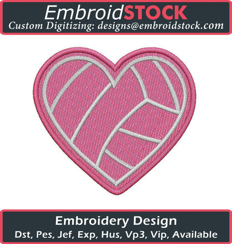 Heart Shaped Volleyball Embroidery Design - Embroidstock