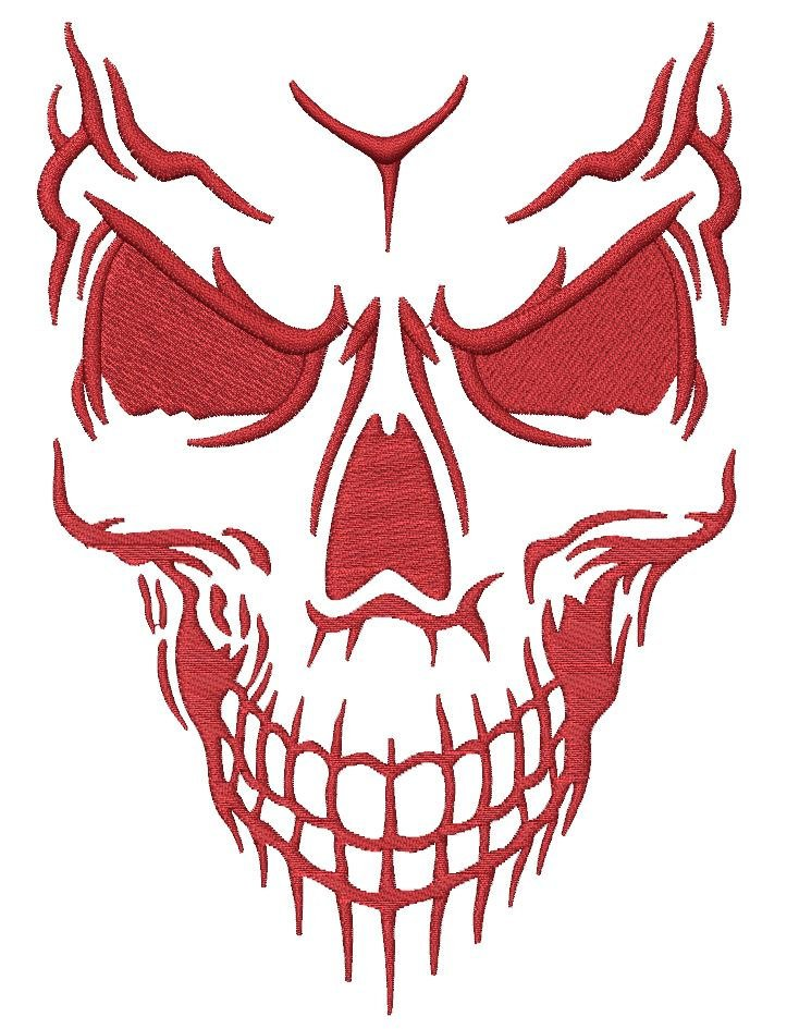 Evil Skull Embroidery Design - Embroidstock
