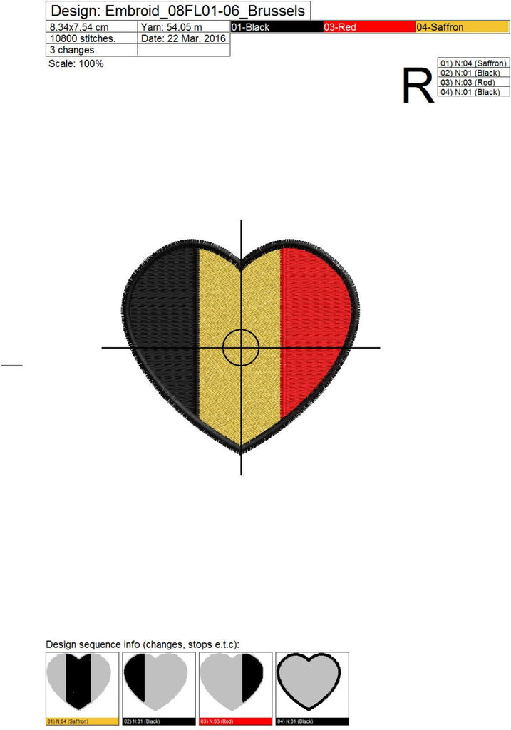 Brussels Heart Flag Embroidery Design - Embroidstock