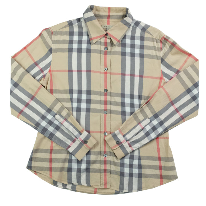 Vintage Burberry WOMENS Classic Check Button Up Shirt - L