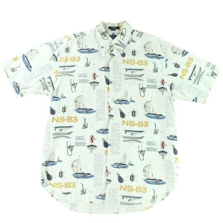 Nautica All Over Print Short Sleeve Button Up - L