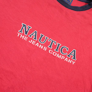 Vintage Nautica Jeans Company Spell Out Jersey Style Top - XL