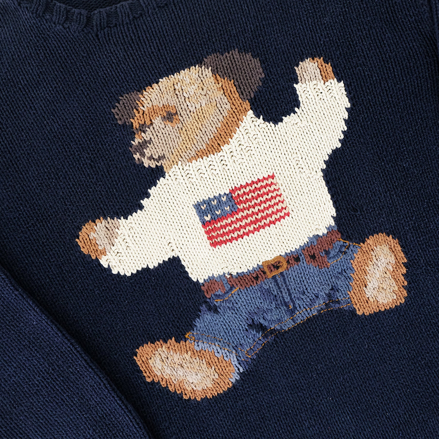 Vintage RARE 1990s Polo Ralph Lauren Sitting Bear Hand Knit Sweater - XL