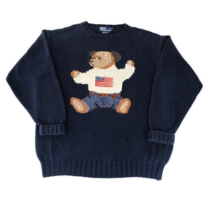 Polo Ralph Lauren 1990s Sitting Bear Knitted Sweater - XL
