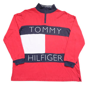 Vintage RARE Tommy Hilfiger BIG Flag Embroidered Spell Out Long Sleeve Top - L