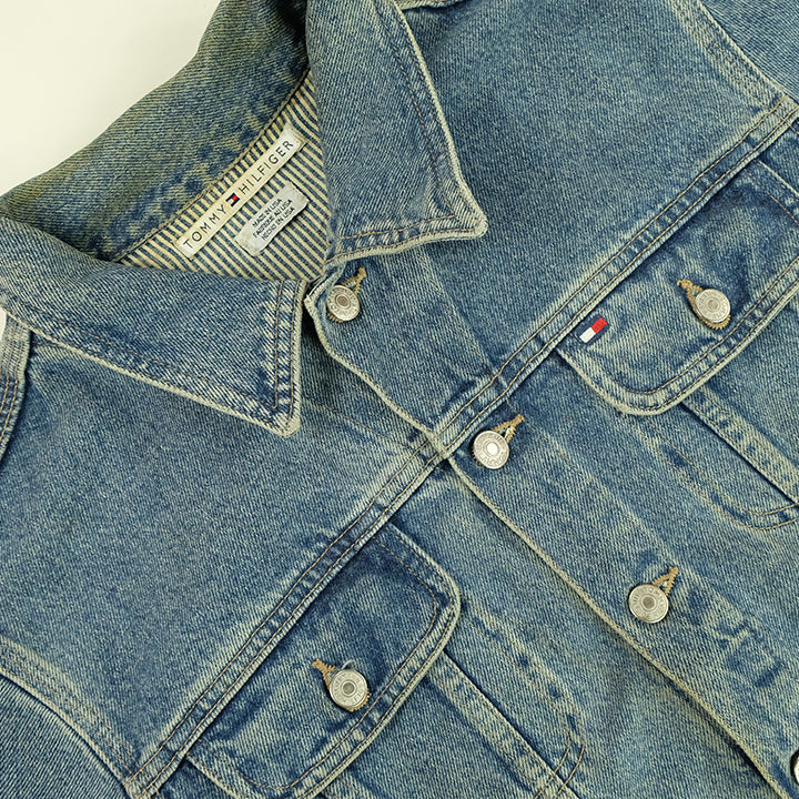 90s Tommy Hilfiger WOMENS Made In USA Spell Out Denim Jacket - L