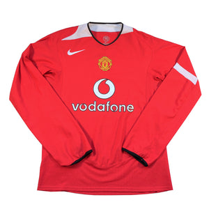 Vintage 2004 Manchester United Nike Vodaphone Long Sleeve Jersey - M/L