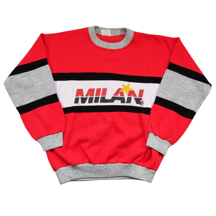 Vintage RARE 80s A.C. Milan Spell Out Crewneck Made In ITALY - S/M