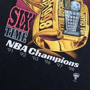Vintage RARE 1998 Chicago Bulls Six Times Champions Big Graphic - L