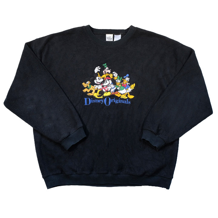 Vintage 90s Disney Embroidered Fleece Crewneck - XL