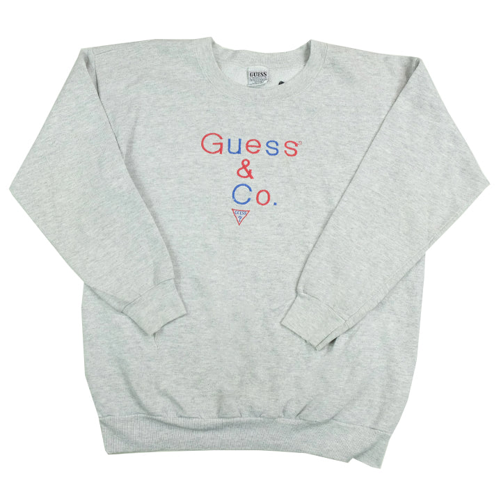 Vintage Guess Embroidered Spell Out Crewneck - M