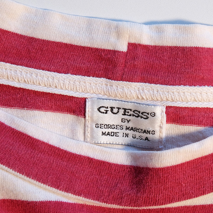 Vintage RARE Original Guess Jeans Stripe Embroidered Long Sleeve - L