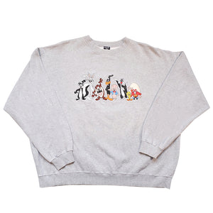 Vintage RARE Looney Tunes Embroidered Characters Crewneck - XL